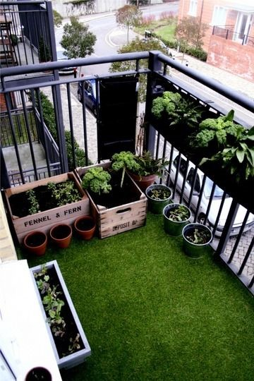 Artificial turf small space garden