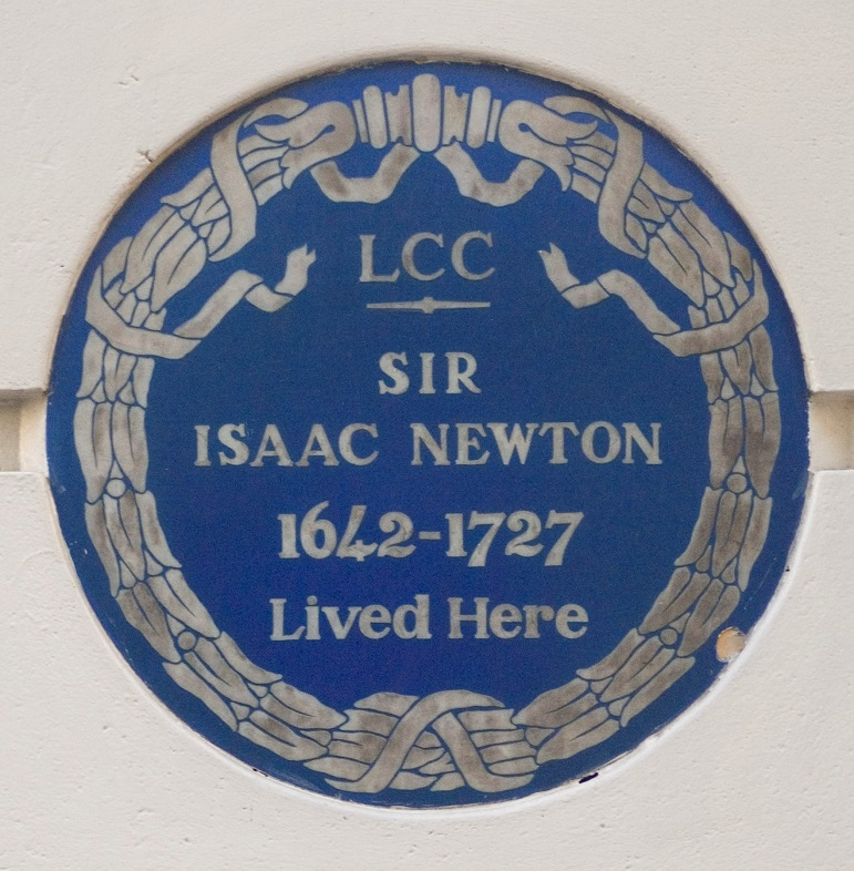 Blue Plaque to Sir Isaac Newton, 87 Jermyn Street, Westminster, London.
