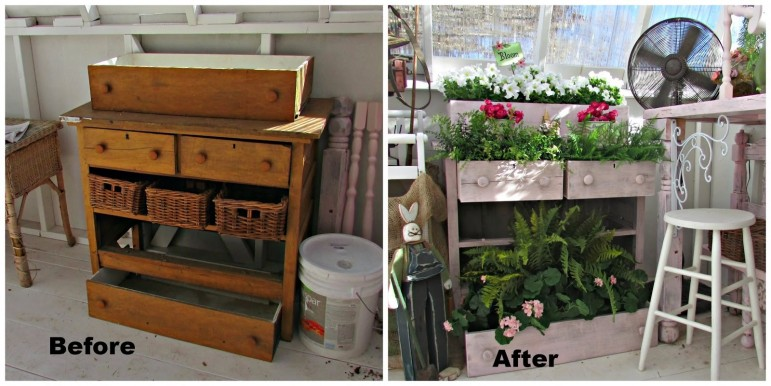 Repurposed drawer container garden